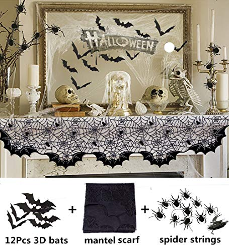 "Halloween Decoration Lace Spider Bats Mantel Scarf - Cobweb Fireplace Mantle Fabric Cover for Halloween Christmas Door Window Curtain Prop Party Decor, 80"" X 20"" Black Kitchen Decoration Table Runner ()"