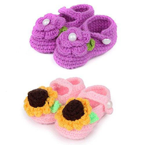 kilofly Socks Baby Girl Newborn Infant Hand Crochet Shoes Booties, (Crochet Preemie Booties)