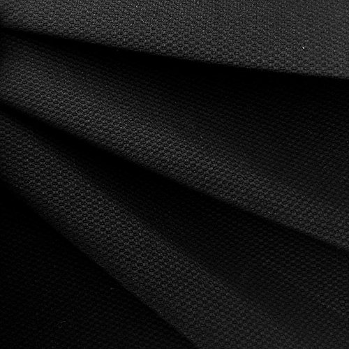 Premium Quality Honeycomb Cotton Spandex Pique Woven Fabric (Wholesale Price by the Bolt) - Black - 20 Yards ()