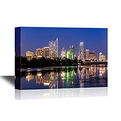 USA City Skyline Canvas Wall Art - Beautiful Austin Skyline Reflection at Twilight, Texas - Gallery Wrap Modern Home Art | Ready to Hang - 12x18 inches