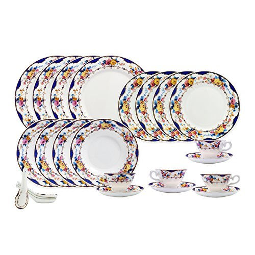 TransSino Treasures Bone China 24 Piece Dinnerware Set Floral Design and Blue Border, Service for 4 (Floral Bone Dish)