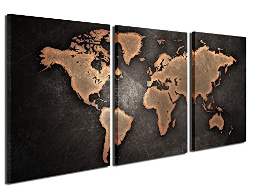 Series Wall Plate - Gardenia Art World Map Series 3 Canvas Prints Wall Art Paintings Modern Brown Plates Wall Artworks Pictures for Room Decoration, 16x24 inch/piece, 3 Panels