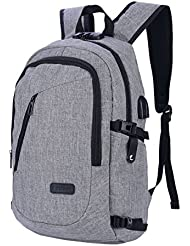 CkeyiN Water Resistant Oxford Fabric Laptop Backpack with USB Charging Port Earphone Hole Anti-theft Lock School...