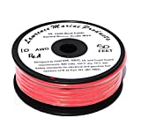 10 AWG Tinned Marine Primary Wire, Red, 50 Feet