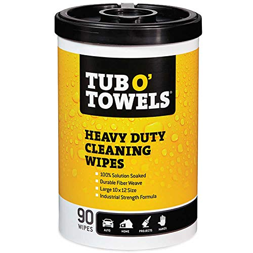 Tub O Towels Heavy-Duty 10'' x 12'' Size Multi-Surface Cleaning Wipes, 90 Count Per Canister by Tub O Towels