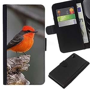 KingStore / Leather Etui en cuir / Sony Xperia Z2 D6502 / Songbird Gris mignon petit minuscule