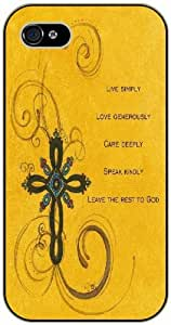 Live simply, love generously, care deeply, speak kindly - Vintage cross - Bible verse iPhone 4/ 4s black plastic case / Christian Verses by icecream design