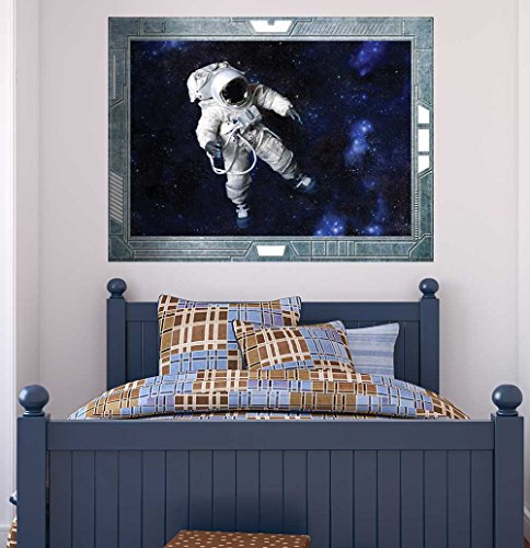 Science Fiction ViewPort Decal View onto an Astronaut Floating in Space Wall Mural