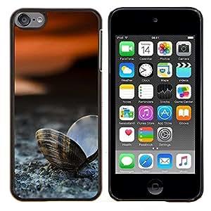 Playa almeja Seashell- Metal de aluminio y de plástico duro Caja del teléfono - Negro - iPod Touch 6