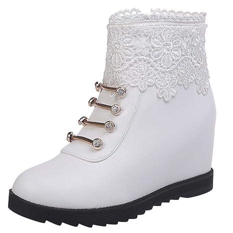 Logobeing Botines Mujer Botas Moda Invierno Cálido Encaje Plano Floral con Cremallera Altas Botas Zapatos de