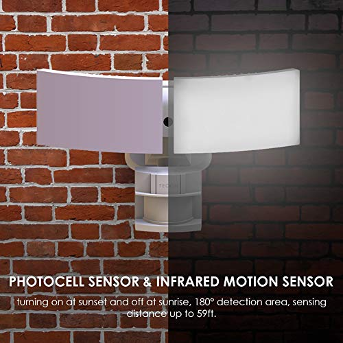Motion Sensor Light Outdoor, LED Flood Light, Teckin 3000 Lumens, 6000K, IP65 ETL Certified 2 Head Waterproof Night Security Light for Garage, Porch, Yard, Pathway, Patio, Driveway