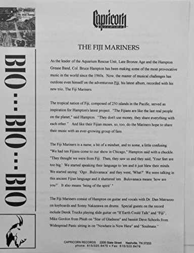 (oddtoes concert posters and music memorabilia Col Bruce Hampton The Fiji Mariners Capricorn Bio w/Promotional Picture)