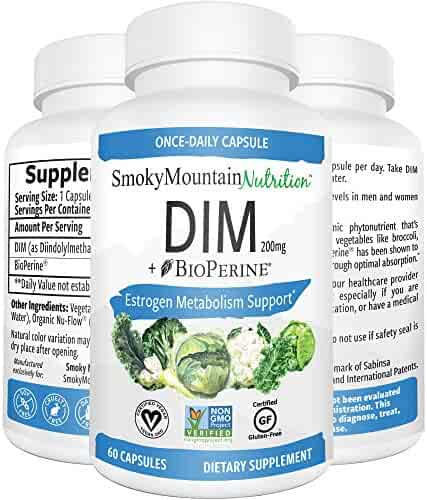 DIM Supplement 200mg Plus BioPerine (2 Month Supply of DIM) Estrogen Balance, Cystic Acne, PCOS, Hormonal Acne Treatment, Menopause Relief, Body Building. Aromatase Inhibitor. Vegan, Non-GMO, Soy-Free