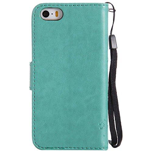 すばらしいですルーチン心臓iPhone 5 / 5s / SE ケース Conber PUレザー 手帳型 軽量 超薄型 耐衝撃 財布型 カバー Apple iPhone 5/5s/SE 用 スタンド機能 カード収納 全面保護 猫と木 ケース - グリーン