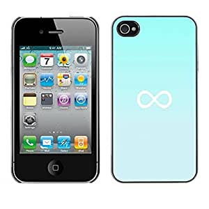 PC/Aluminum Funda Carcasa protectora para Apple Iphone 4 / 4S infinity mathematics blue minimalist / JUSTGO PHONE PROTECTOR
