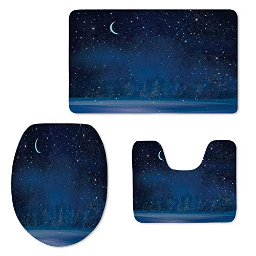 TecBillion Moon Decor Soft Three Piece Toilet Seat,Mystic Winter Wonderland with Starry Sky Dark Night Magical Forest Landscape for Toilet,ONE Size
