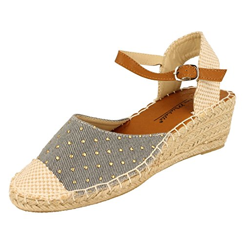 Ladies Anne Michelle Open Back Wedge Sandal F2254 - Light Blue Denim - UK Size 8 - EU Size 41 - US Size 10