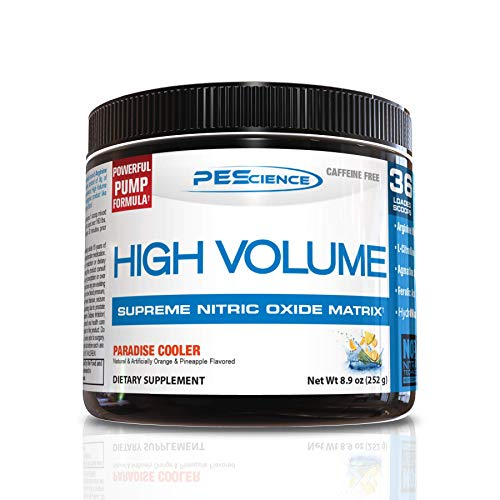 PEScience High Volume, Paradise Cooler (Orange Pineapple), 36 Scoops, Caffeine-Free Preworkout