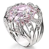 Endicot Vintage Pink Sapphire Silver Ring Women Engagement Bridal Jewelry Rings Sz 6-10 | Model RNG - 4951 | 9