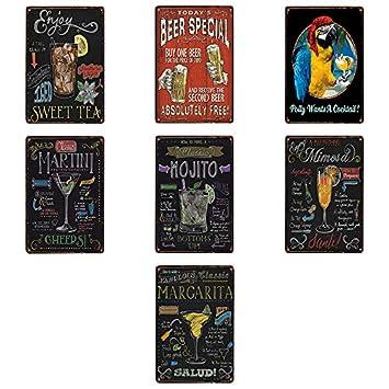 Chakil Pintura de hojalata cafeter/ía Retro Bar decoraci/ón de la Sala de Estar Mural Pintura de Hierro a/ño Nuevo