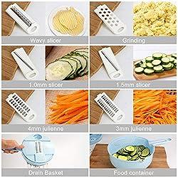 Fomuson 12-in-1 Vegetable Mandoline Slicer Cutter Set, Upgraded Julienne Grater Slicer and Egg Separator with Detachable Handle for Kitchen Multiuse