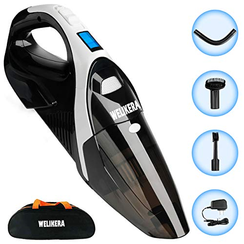 Handheld Vacuum Cordless, WELIKERA 12V 5000PA Portable Hand Vacuum Cleaner, Strong Suction Rechargeable Cordless Vacuum Cleaner with Quick Charge High Tech Hand Held Vac for Home Car Pet Hair