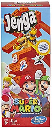 Jenga Super Mario Edition Game, Block Stacking Tower Game for Super Mario Fans, Aged 8 and Up