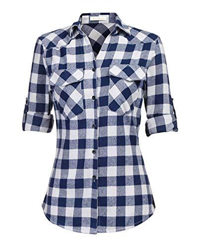 Genhoo Women's Roll Up Long Sleeve Tartan Plaid Collared Button Down Boyfriend Casual Flannel Shirt Top(Navy Blue,XL)