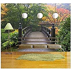 wall26 - Wooden Bridge at Portland Japanese Garden Oregon in Autumn - Removable Wall Mural | Self-adhesive Large Wallpaper - 100x144 inches