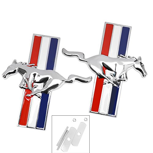 (QUIOSS Running Horse Pony Car Grille Emblem Badge Ford Mustang Tri Bar Chrome Finish Bolts)