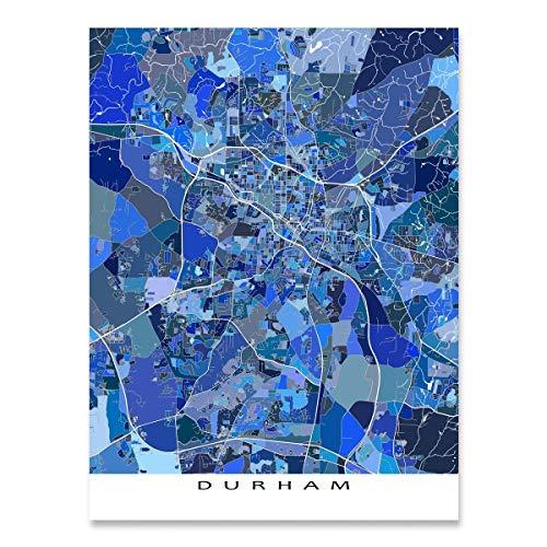 Duke University Durham Nc - Durham Map Print, North Carolina, USA, City Street Art, Blue
