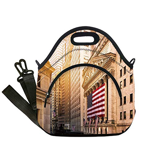 Insulated Lunch Bag,Neoprene Lunch Tote Bags,United States,Famous Wall Street Building New York Stock Exchange with Flags Urban,Sand Brown Navy Red,for Adults and children