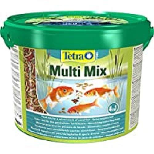 Tetra Pond Multi Mix 10 L – Comida para peces que consiste en cuatro tipos diferentes de comida (Comida en escamas…
