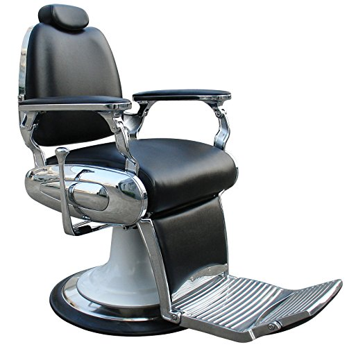 Carter  Reclining Black Barber Chair With Heavy Duty Base And Chrome Frames