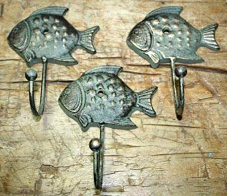 6 Cast Iron Antique Style SUN FISH Coat Hooks Hat Hook Rack Towel Nautical Beach