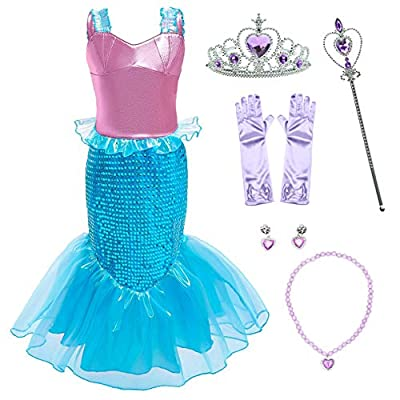 Little Girls Mermaid Costume Princess Dress Up for Birthday with Accessories(Crown+Wand) 3-10 Years: Clothing