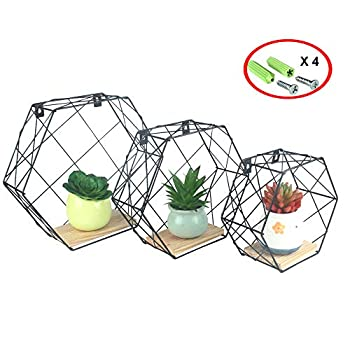 Growsun Floating Shelves Kitchen Hexagon Metal Wall-Mounted Storage Display Shelf with Wooden Bracket,3 Pack