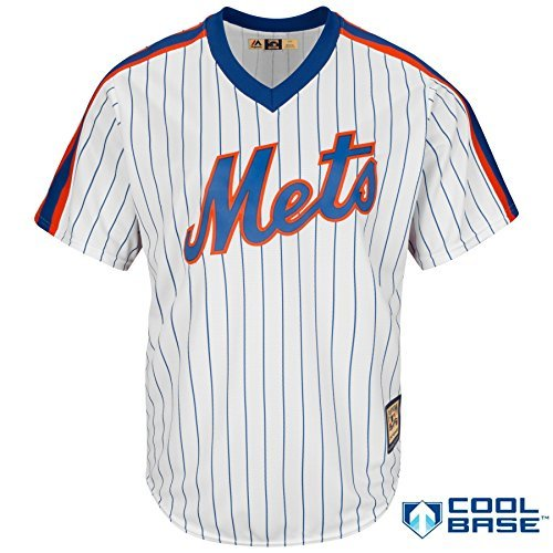 Youth Pinstripe Replica Jersey - New York Mets Youth Cool Base Cooperstown Pullover Pinstripe Jersey White (Small 8)