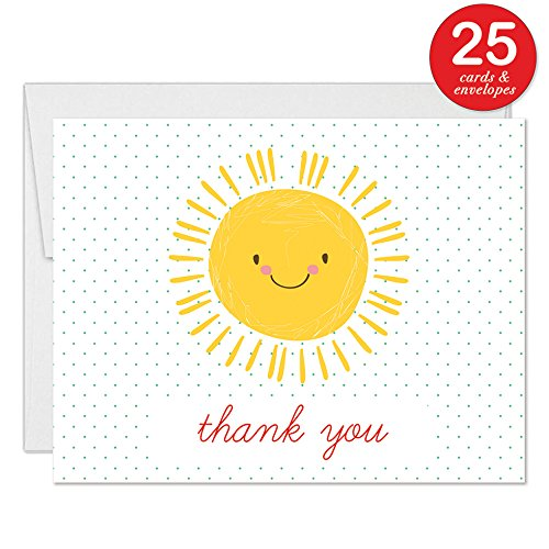 Baby Shower Thanks! Happy Yellow Sunshine Thank You Cards with Envelopes ( Pack of 25 ) Sunny Smile Boy Girl Infant Son Daughter Mommy-To-Be Notecards Thanks for Newborn Gifts Excellent Value VT0077B
