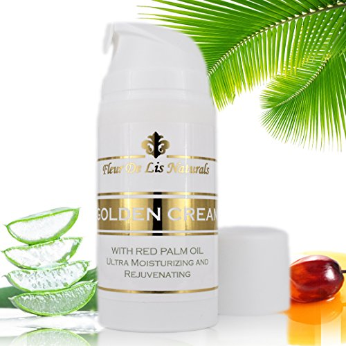 Golden Cream with Red Palm Oil - Natural and Organic, Anti-aging, Collagen Boosting Ingredients; Fights Wrinkles, Acne Scars, Uneven Skin Tone, Sagging Skin, Dry Skin - Original, 3.38 Oz