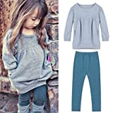 OPEEK Leisure Fashion Kids Girls Cotton Solid Color Long Sleeve Top Pants