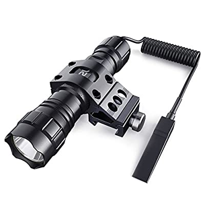 CISNO 1000 Lumens LED Tactical Flashlight Torch Pressure Switch with 1'' Offset Mount for Hunting Hiking, Battery Not Included-Flat Black