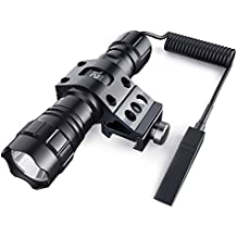CISNO 1000LM LED Tactical Flashlight Torch Pressure Switch with 1'' Offset Mount for Hunting Hiking, Flat Black