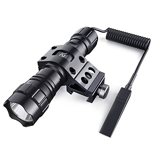 (CISNO 1000LM LED Tactical Flashlight Torch Pressure Switch with 1'' Offset Mount for Hunting Hiking, Flat Black)