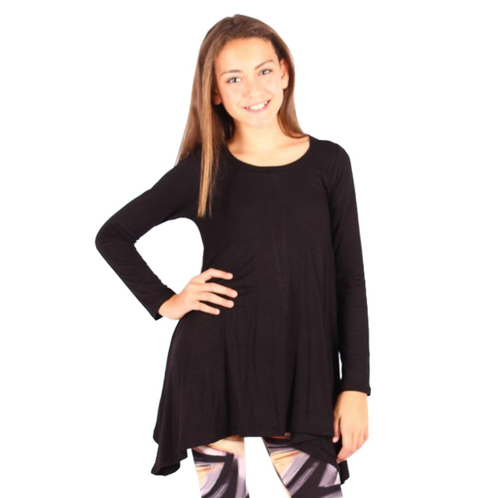 Lori&Jane Big Girls Black Solid Color Long Sleeved Trendy Tunic Top 10/12