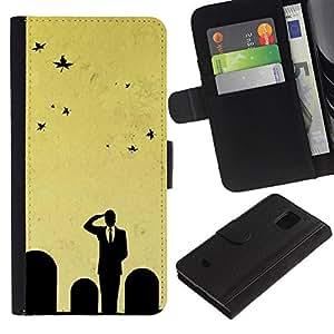 YiPhone /// Tirón de la caja Cartera de cuero con ranuras para tarjetas - Minimalista Cementerio Salute - Samsung Galaxy S5 Mini, SM-G800