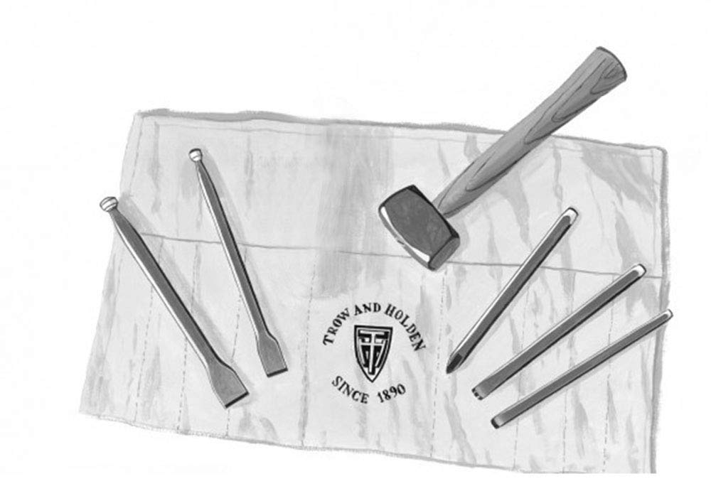 HARD STONE HAND CARVING SET WITH SQUARE HAMMER