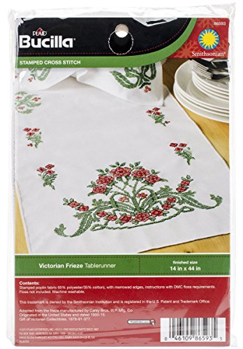Bucilla Stamped Cross Stitch Table Runner Kit, Victorian Frieze, 14 44-Inch, 86593
