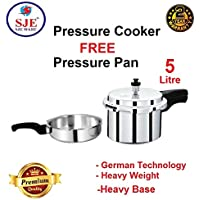 SJEWARE Aluminum Base Pressure Cooker and Pressure pan with Outer Lid, 5 litres, Silver