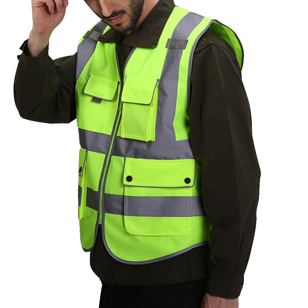 Puimentiua Unisex Sicherheitsweste Hochsichtbare Warnweste Auto Pannenweste mit Reflektierendem Material f/ür Arbeitern mit Hohem Risiko